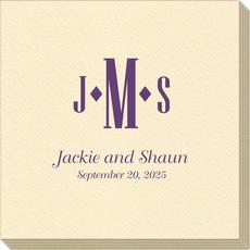 Condensed Monogram with Text Linen Like Napkins