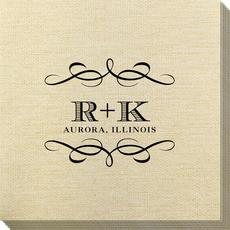 Courtyard Scroll with Initials Bamboo Luxe Napkins