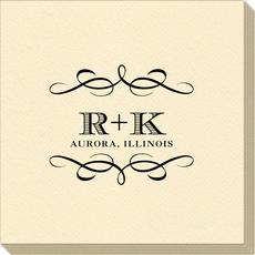 Courtyard Scroll with Initials Linen Like Napkins