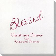 Expressive Script Blessed Bamboo Luxe Napkins