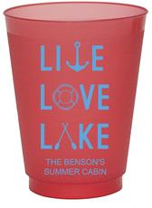 Live, Love, Lake Colored Shatterproof Cups