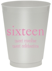 Big Number Sixteen Colored Shatterproof Cups