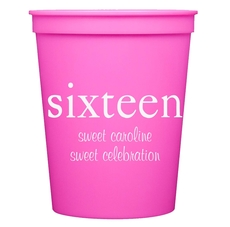 Big Number Sixteen Stadium Cups