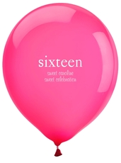 Big Number Sixteen Latex Balloons