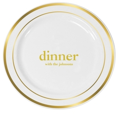 Big Word Dinner Premium Banded Plastic Plates