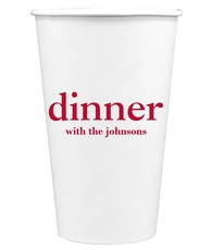 Big Word Dinner Paper Coffee Cups