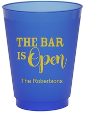 The Bar is Open Colored Shatterproof Cups