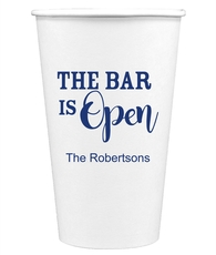 The Bar is Open Paper Coffee Cups