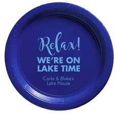 Relax We're on Lake Time Paper Plates