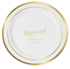 Expressive Script Married Premium Banded Plastic Plates