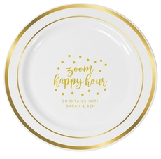 Confetti Dot Zoom Happy Hour Premium Banded Plastic Plates