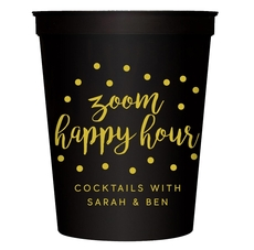 Confetti Dot Zoom Happy Hour Stadium Cups