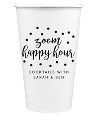Confetti Dot Zoom Happy Hour Paper Coffee Cups