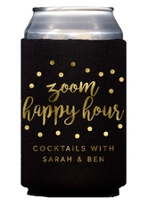 Confetti Dot Zoom Happy Hour Collapsible Koozies