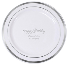 Perfect Happy Birthday Premium Banded Plastic Plates
