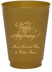 Elegant Happy Anniversary Colored Shatterproof Cups