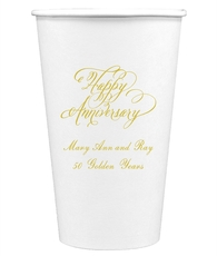Elegant Happy Anniversary Paper Coffee Cups