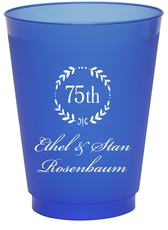 75th Wreath Colored Shatterproof Cups