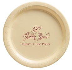 Elegant 50 Golden Years Paper Plates