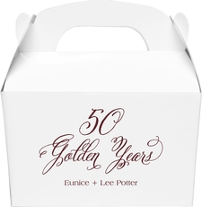 Elegant 50 Golden Years Large Favor Boxes