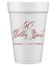 Elegant 50 Golden Years Styrofoam Cups