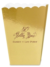 Elegant 50 Golden Years Mini Popcorn Boxes