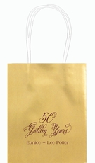 Elegant 50 Golden Years Mini Twisted Handled Bags