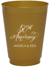 Elegant 50th Anniversary Colored Shatterproof Cups