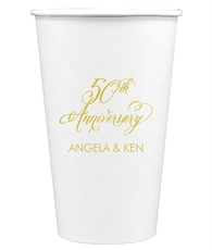 Elegant 50th Anniversary Paper Coffee Cups