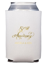 Elegant 50th Anniversary Collapsible Koozies