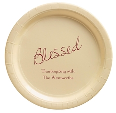 Expressive Script Blessed Paper Plates