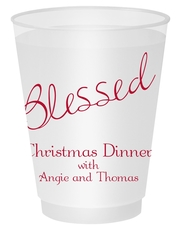 Expressive Script Blessed Shatterproof Cups