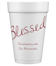 Expressive Script Blessed Styrofoam Cups