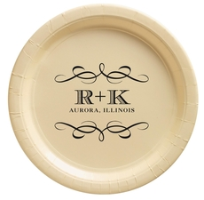 Courtyard Scroll with Initials Paper Plates