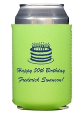 Sophisticated Birthday Cake Collapsible Koozies