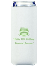 Sophisticated Birthday Cake Collapsible Slim Koozies