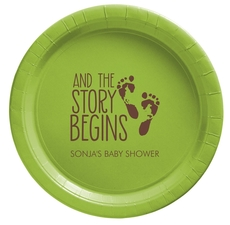 And The Story Begins with Baby Feet Paper Plates