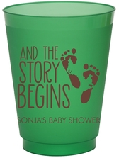 And The Story Begins with Baby Feet Colored Shatterproof Cups