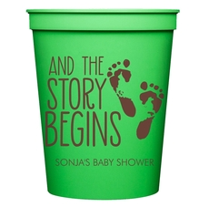 And The Story Begins with Baby Feet Stadium Cups