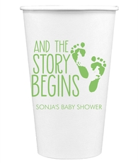 And The Story Begins with Baby Feet Paper Coffee Cups