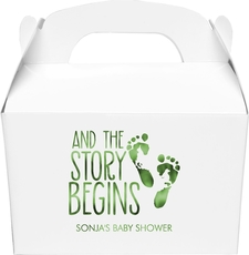 And The Story Begins with Baby Feet Large Favor Boxes