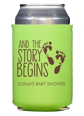 And The Story Begins with Baby Feet Collapsible Koozies