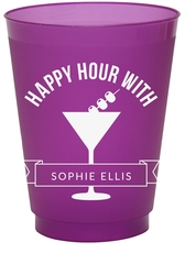 Happy Hour Martini Colored Shatterproof Cups