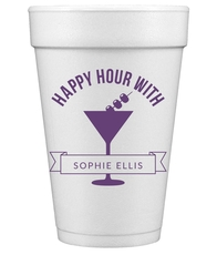 Happy Hour Martini Styrofoam Cups