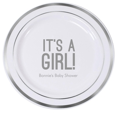 Bold It's A Girl Premium Banded Plastic Plates