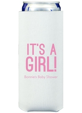 Bold It's A Girl Collapsible Slim Koozies
