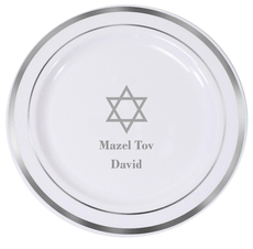 Traditional Star of David Premium Banded Plastic Plates