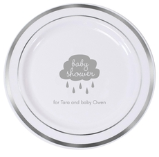 Baby Shower Cloud Premium Banded Plastic Plates