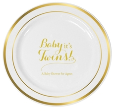 Baby It's Twins Premium Banded Plastic Plates