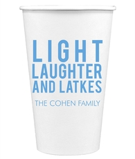 Light Laughter And Latkes Paper Coffee Cups